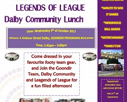 LEGENDS OF LEAGUE Dalby Community Lunch